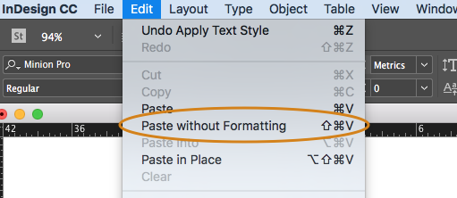 indesign tip paste without formatting technology for publishing llc