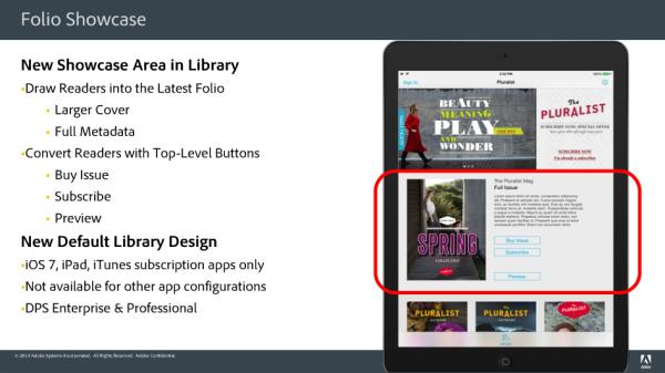 Screenshot of Adobe DPS v31 Showcase Area