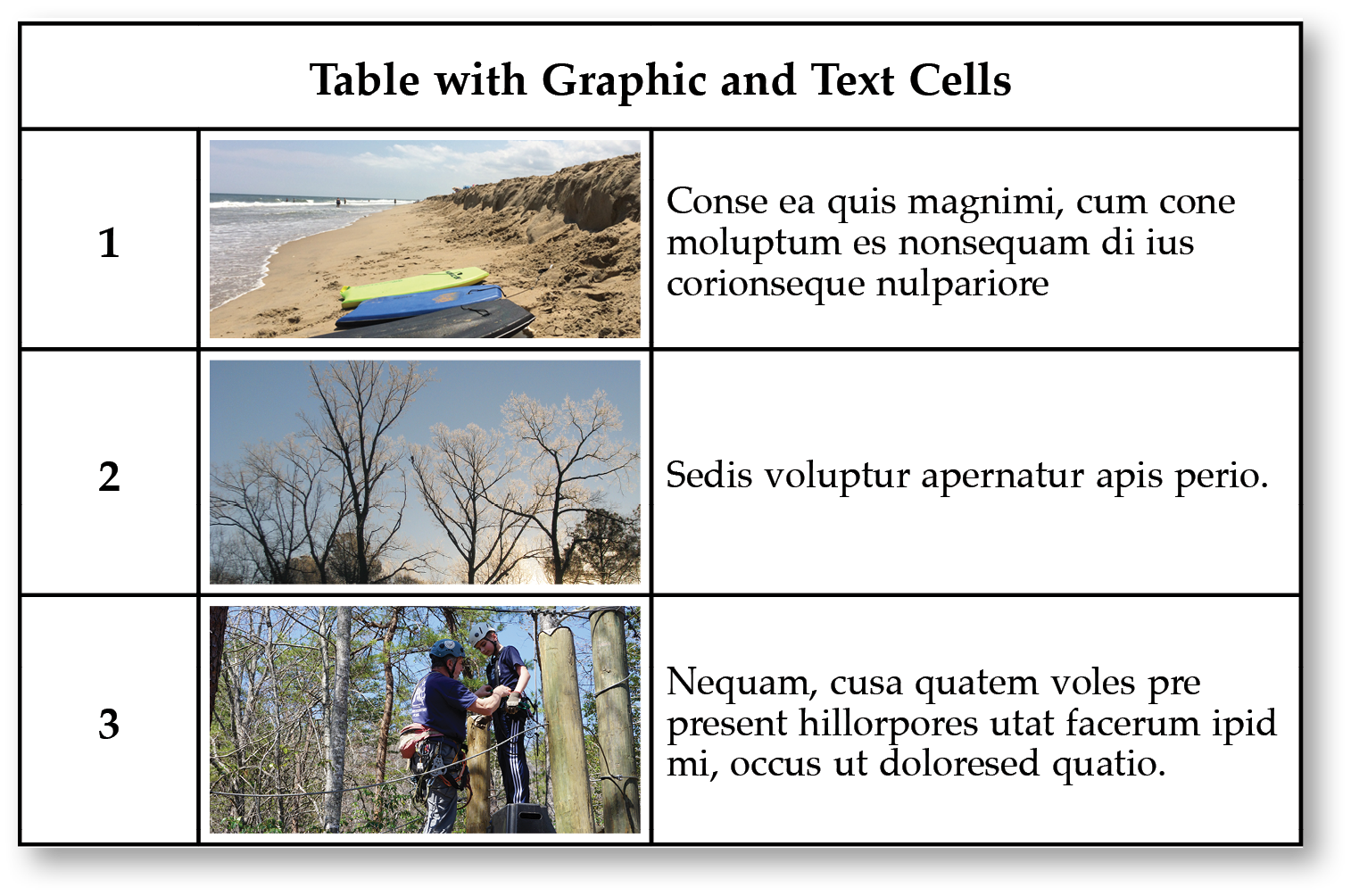table with graphic cells