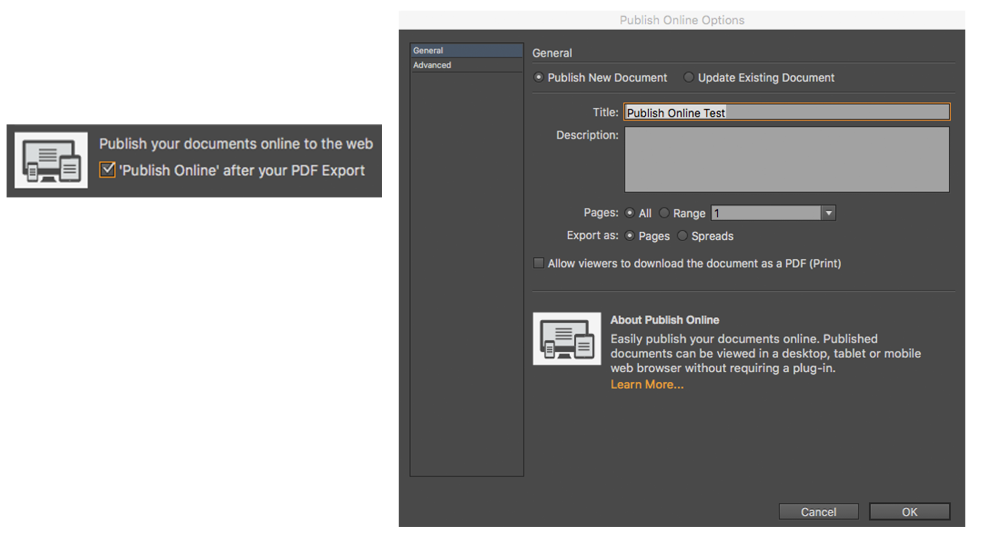 InDesign CC Tip: Publish Online Option in Print and Export