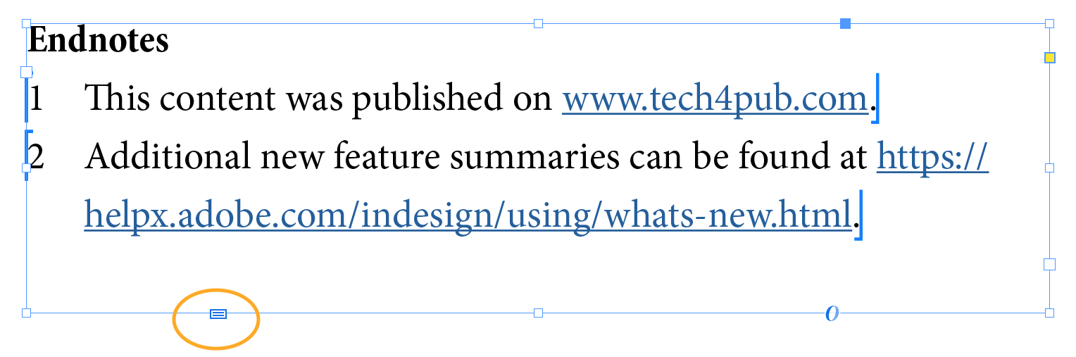 endnotes text frame new