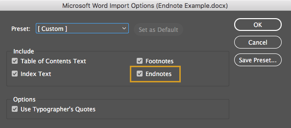 Endnotes from Word