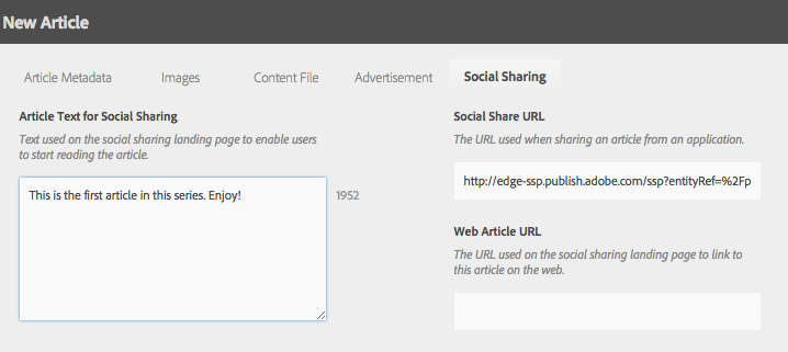 social sharing article properties